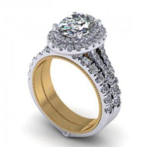 Custom Oval Double Halo Ring Dallas 1