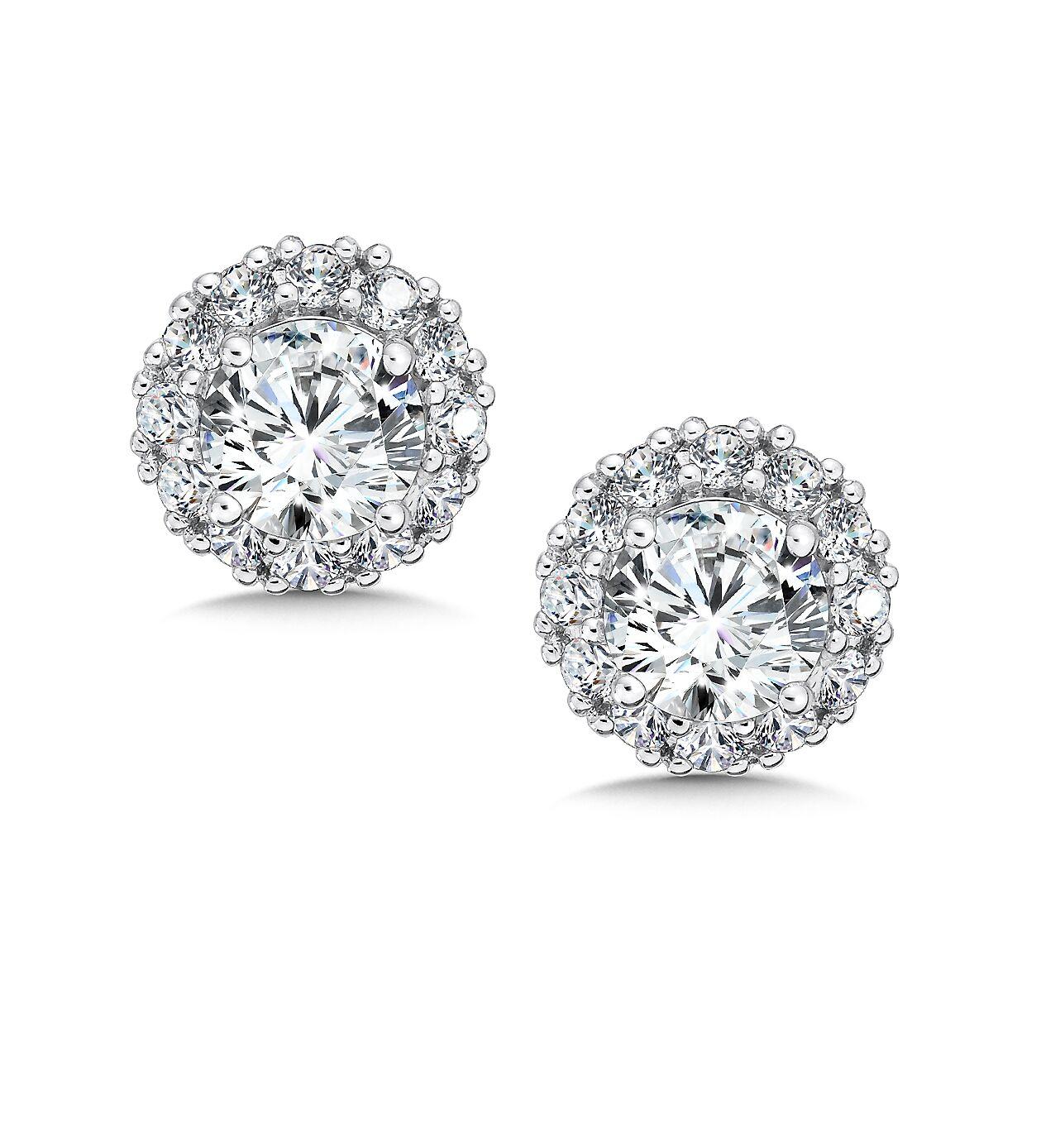 Custom round diamond studs - custom jewelry - halo diamond studs 1 carat 1